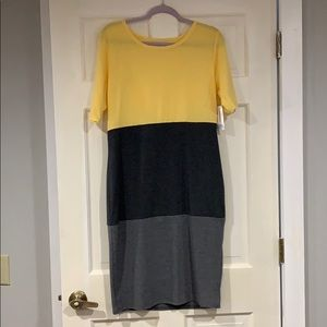 LuLaRoe yellow and gray Julia dress L NWT